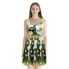 Summer Anemone Sylvestris Split Back Mini Dress  by Nexatart