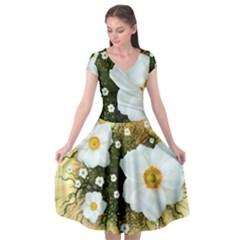 Summer Anemone Sylvestris Cap Sleeve Wrap Front Dress