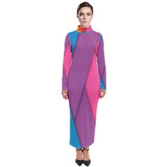 Abstract Background Colorful Strips Turtleneck Maxi Dress