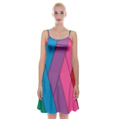 Abstract Background Colorful Strips Spaghetti Strap Velvet Dress by Nexatart