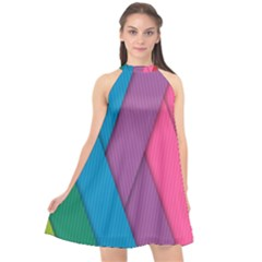 Abstract Background Colorful Strips Halter Neckline Chiffon Dress