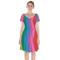 Abstract Background Colorful Strips Short Sleeve Bardot Dress by Nexatart