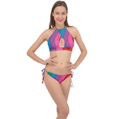 Abstract Background Colorful Strips Cross Front Halter Bikini Set by Nexatart
