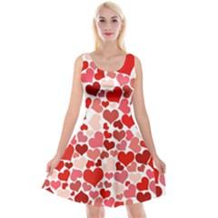 Abstract Background Decoration Hearts Love Reversible Velvet Sleeveless Dress