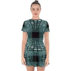 Abstract Perspective Background Drop Hem Mini Chiffon Dress by Nexatart
