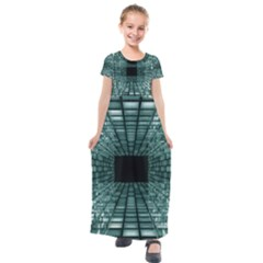 Abstract Perspective Background Kids  Short Sleeve Maxi Dress by Nexatart