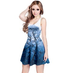 Nature Inspiration Trees Blue Reversible Sleeveless Dress