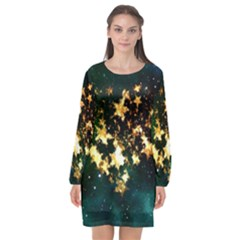 Heart Love Universe Space All Sky Long Sleeve Chiffon Shift Dress