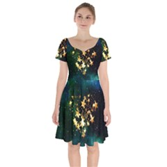 Heart Love Universe Space All Sky Short Sleeve Bardot Dress by Nexatart
