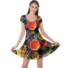 Color Box Colorful Art Artwork Cap Sleeve Dress