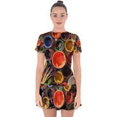 Color Box Colorful Art Artwork Drop Hem Mini Chiffon Dress by Nexatart
