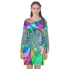 Retro Wave Background Pattern Long Sleeve Chiffon Shift Dress  by Nexatart