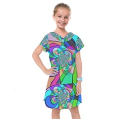 Retro Wave Background Pattern Kids  Drop Waist Dress by Nexatart