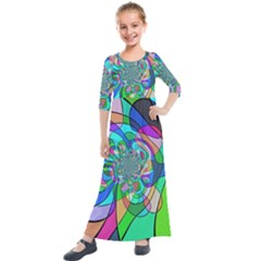 Retro Wave Background Pattern Kids  Quarter Sleeve Maxi Dress by Nexatart
