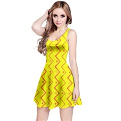 Yellow Background Abstract Reversible Sleeveless Dress