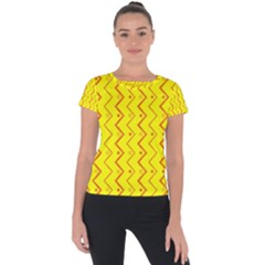Yellow Background Abstract Short Sleeve Sports Top  by Nexatart