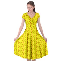 Yellow Background Abstract Cap Sleeve Wrap Front Dress by Nexatart