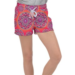 Floral Background Texture Pink Women s Velour Lounge Shorts