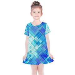 Abstract Squares Arrangement Kids  Simple Cotton Dress