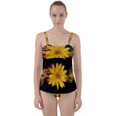 Sun Flower Blossom Bloom Particles Twist Front Tankini Set by Nexatart