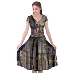 Architecture City Home Window Cap Sleeve Wrap Front Dress