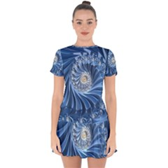 Blue Fractal Abstract Spiral Drop Hem Mini Chiffon Dress