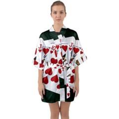 Poker Hands   Royal Flush Hearts Quarter Sleeve Kimono Robe by FunnyCow