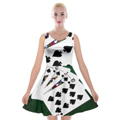 Poker Hands   Royal Flush Spades Velvet Skater Dress by FunnyCow