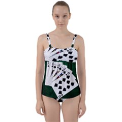 Poker Hands   Royal Flush Spades Twist Front Tankini Set by FunnyCow