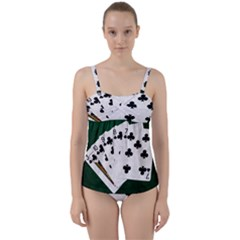 Poker Hands   Straight Flush Clubs Twist Front Tankini Set by FunnyCow