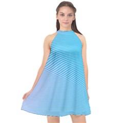 Background Graphics Lines Wave Halter Neckline Chiffon Dress