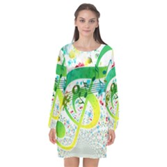 Points Circle Music Pattern Long Sleeve Chiffon Shift Dress