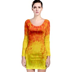 Abstract Explosion Blow Up Circle Long Sleeve Bodycon Dress