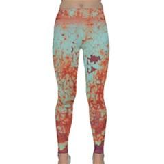Orange Blue Rust Colorful Texture Classic Yoga Leggings