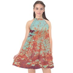 Orange Blue Rust Colorful Texture Halter Neckline Chiffon Dress