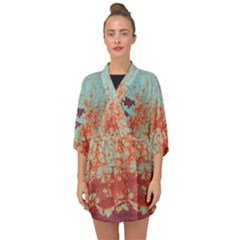 Orange Blue Rust Colorful Texture Half Sleeve Chiffon Kimono by Nexatart