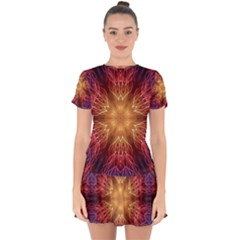 Fractal Abstract Artistic Drop Hem Mini Chiffon Dress