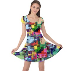 Color Abstract Background Textures Cap Sleeve Dress by Nexatart