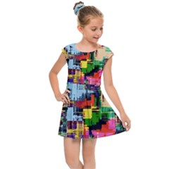 Color Abstract Background Textures Kids Cap Sleeve Dress by Nexatart