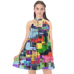 Color Abstract Background Textures Halter Neckline Chiffon Dress