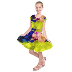 Abstract Bubbles Oil Kids  Short Sleeve Dress by Nexatart