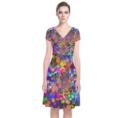 Background Color Pattern Structure Short Sleeve Front Wrap Dress
