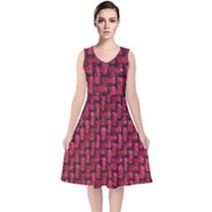 Fabric Pattern Desktop Textile V Neck Midi Sleeveless Dress