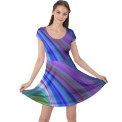 Background Abstract Curves Cap Sleeve Dress