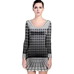 Space Glass Blocks Background Long Sleeve Bodycon Dress