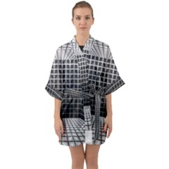 Space Glass Blocks Background Quarter Sleeve Kimono Robe by Nexatart