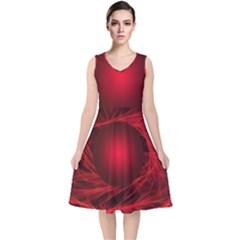 Abstract Scrawl Doodle Mess V Neck Midi Sleeveless Dress