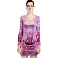 Meditation Spiritual Yoga Long Sleeve Bodycon Dress