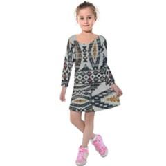 Fabric Textile Abstract Pattern Kids  Long Sleeve Velvet Dress