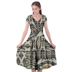 Fabric Textile Abstract Pattern Cap Sleeve Wrap Front Dress by Nexatart